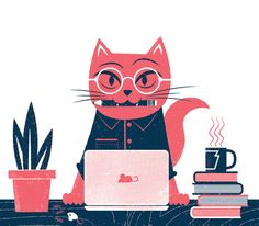 Cute kitty at work illustration Cute Wallpapers, Inspiration, Illustration, Motion Graphics Inspiration, Cat Illustration, Graphic Design Illustration, Inspirational Illustration, Card Illustration, Cat Drawing