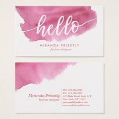 #makeupartist #businesscards - #Stylish Hello Typography Elegant Pink Watercolor Business Card