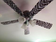 Contact paper + fan blades= endless possibilities Levi's fan... He loves it!