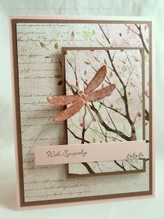 handmade sympathy card from The Stampin' Bean ... neutral colors .... pretty patterned paper ... copper dragonfly ... Asian feel ... great card!