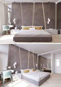 The grey upholstered headboard in this modern bedroom almost takes up the entire wall. The angular panels have hidden lighting between them giving the bedroom a soft glow. Modern Bedroom Furniture, Modern Bedroom Design, Contemporary Bedroom, Modern House Design, Home Decor Bedroom, Bed Design, Bedroom Wall, Bedroom Ideas, Bedroom Designs