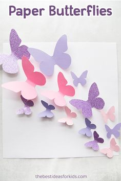 Get this free butterfly template to make a beautiful butterfly display! This paper butterfly craft is so fun to make! Paper Butterfly, Paper Butterfly Wall Art, Paper Butterfly DIY, Paper Butterfly Template, Butterfly Template Printable. #bestideasforkids #spring #butterfly #kidscraft #craft #diy via @bestideaskids