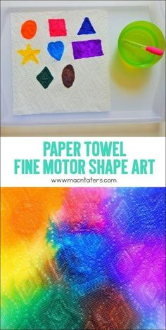 Paper Towel Fine Motor Shape Art is great for kids to practice their fine motor skills while also identifying their shapes. This is a fun hands on toddler and preschooler learning activity that boys and girls are sure to love.