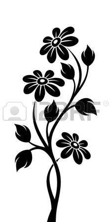 Black silhouette of branch with flowers  Vector illustration  photo