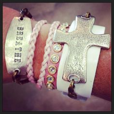"Lenny and Eva ""Breath"" Sentiment Bracelet and Cross Pendant on White Leather Band we have these at Cathy Cook Jewelry!"