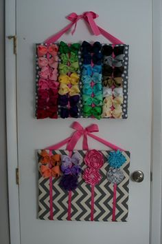 CHEAP and EASY to make, hair bow organizer for your little girls hair bows! You can color coordinate all the bows and see them all at once!