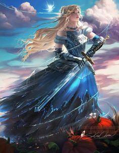 Cinderella Knight by Sakimi Chan Anime Art Fantasy, Fantasy Kunst, Fantasy Art Women, 3d Fantasy, Fantasy Warrior, Fantasy Girl, Fantasy Artwork, Dark Fantasy, Fantasy Comics