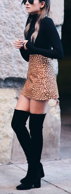 Leopard mini skirt.