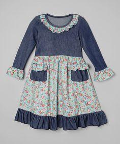 Look at this #zulilyfind! Denim Floral Knit Dress - Infant, Toddler & Girls by Be Girl Clothing #zulilyfinds