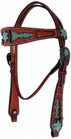 Chestnut Leather Inlayed Headstall by Double J Saddlery