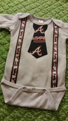 Atlanta Braves Tie bodysuit with suspenders - Baby sizes available 0-3m, 3-6, 6-12m, 12-18 by Americarican1 on Etsy