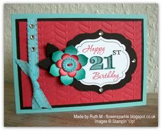 Flower Sparkle: Memorable Moments 21st Birthday Card For Naomi