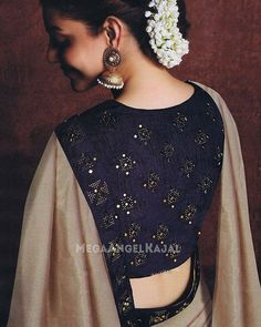 - Chiffon Silk Kajal Aggarwal Half N Half Sari Sari Blouse Designs, Blouse Patterns, Black Blouse Designs, Indian Attire, Indian Wear, Indian Dresses, Indian Outfits, Indische Sarees, Saree Poses