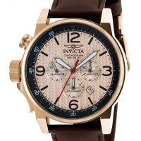 Invicta Watches Men's I-Force Chrono Brown Gen. Leather Rose-Tone Dial and 18K…
