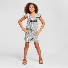 Girls' Embroidered Romper Art Class™ - Black : Target