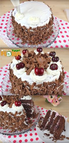 Bolo Floresta Negra #BoloFlorestaNegra #Receitatodahora Bolos Cake Boss, Cupcake Cakes, Cupcakes, Sweet And Salty, I Love Food, Yummy Cakes, Deserts, Food And Drink, Ice Cream