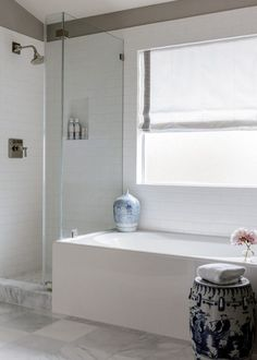 Before and After: A Light Kitchen & Bathroom Renovation (La Dolce Vita) Open Bathroom, Upstairs Bathrooms, Master Bathroom, Light Bathroom, Bathroom Ideas, Turquoise Laundry Rooms, Modern Powder Rooms, Diy Bathtub, Bathroom Design Inspiration