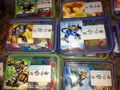 "Skylanders swap force ""element packs"" I made for Aidan's birthday give aways."