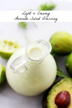 Light and Creamy Avocado-Lime Salad Dressing - Tangy,smooth, lightened up Avocado Salad Dressing with lime juice and creamy yogurt.