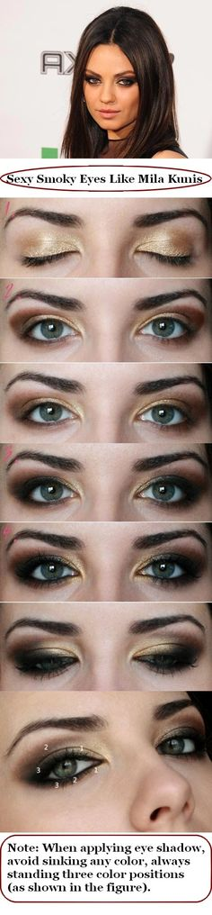 Sexy Smoky Eyes Like Mila Kunis // See the #Makeup #Products a #Woman Above 30 Can`t Live Without On: www.everydaynewfashions.com/