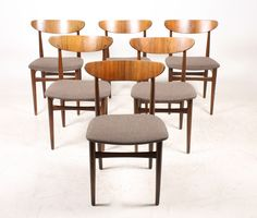 Danish Beech and Rosewood Dining Chairs, 1960s, Set of 6 1