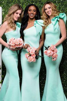 Gorgeous One Shoulder Mint Green Mermaid long Bridesmaid Dress
