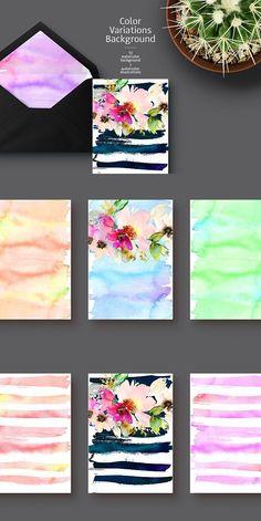 Bouquet + 12 watercolor backgrounds. Wedding Card Templates. $7.00
