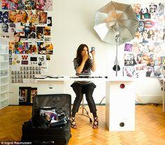 Lisa's studio. look at that herringbone floor