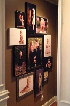 Mixed frames and canvas wall Gallery Wall Layout, Gallery Wall Frames, Frames On Wall, Gallery Walls, Art Gallery, Displaying Family Pictures, Family Pictures On Wall, Living Room Pictures, Picture Arrangements