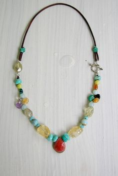Colorful leather necklace Fiesta bohemian artisan by 3DivasStudio, $76.00