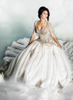 Voluminous gowns bathe in the light of thousands of Swarovski crystals, intricate and luxurious laces, the Dar Sara wedding dresses 2014 collection by. Wedding Dresses 2014, Wedding Attire, Bridal Dresses, Dress Wedding, Stunning Wedding Dresses, Beautiful Gowns, Ball Gown Dresses, Gown Skirt, Dresses Uk
