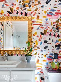 decor joondalup bathroom decor decor vintage decor dogs decor lights for bathroom decor for bathroom decor decor examples Decoration Inspiration, Bathroom Inspiration, Decor Ideas, Wallpaper Wall, Bathroom Wallpaper, Colorful Wallpaper, Fresh To Go, Décor Antique, Interior Decorating