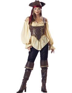 Déguisement Pirate pour femme - Premium : Ce déguisement se compose d'un pantalon, d'un corset, d'un chemisier, d'un chapeau et d'une paire de cache-bottes.Le haut est constitué d'un...