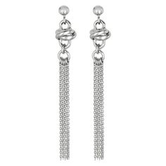 Knot and Dangle Chain Tassel Earring in Silver