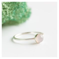 Pink Opal Simple silver solitaire ring with Natural pink opal faceted... ❤ liked on Polyvore featuring jewelry, rings, silver charms, cabochon rings, silver jewelry, pink silver ring and solitaire ring