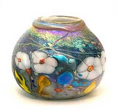 Iridescent art glass vase by Tom Michel