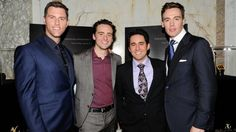 """Michael Lomenda, Vincent Piazza, John Lloyd Young and Erich Bergen at the """"Jersey Boys"""" New York screening. The Jersey Boys Movie, Vincent Piazza, John Lloyd Young, Frankie Valli, Movies For Boys, Musical Film, Clint Eastwood, Men Looks, Beautiful People"""