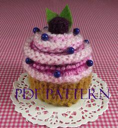 KNITTING PATTERN Cupcake Ornament Toy Amigurumi by LiliaCraftParty