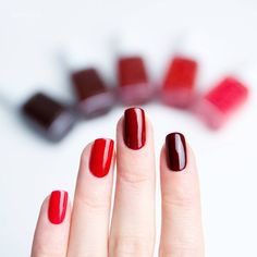 How do your favorite essie red nail colors compare? From sizzling rich red coral  too too hot', to 'really red' an award-winning truly rich red, to a spicy dark creme red 'fishnet stockings', a deep wine red 'bordeaux' and finally 'wicked' a deep and dark creamy sinister red. Shop your ideal red manicure color here: http://www.essie.com/Colors/reds.aspx