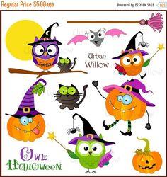 60% OFF SALE Owl Halloween Png & Jpeg clip от LittlePumpkinsPix