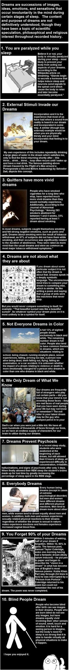Facts about dreams -- some of these are startling!
