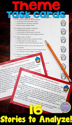 Theme Task Cards- 16 short passages to read and two types of answer sheets!
