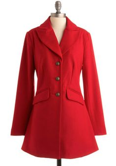 Red It in the Paper Coat.#modcloth. I adore this coat. I wear it all the time. I love the bright red color. I love the cut and the detail work on the buttons.