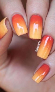 Orange & yellow ombre nails orange ombre nails, yellow toe nails, p Yellow Toe Nails, Orange Ombre Nails, Yellow Nail Art, Yellow Artwork, Nail Pink, Cute Nails, Pretty Nails, My Nails, Almond Nails French