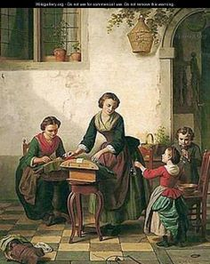 The Lace Makers by Basile De Loose - Reproduction Oil Painting Bobbin Lacemaking, Lace Art, Lace Painting, Crafts With Pictures, Lace Jewelry, Sewing Art, Lace Making, Vintage Crafts, Antique Lace