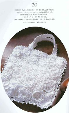 bag with irish crochet motives