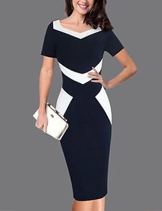 Square Neck Color Block Bodycon Dress – lovejewelryacc dresses outfit cute dresses for summer casual womens summer dresses fancy outfit Trendy Dresses, Elegant Dresses, Nice Dresses, Casual Dresses, Fashion Dresses, Short Sleeve Dresses, Dresses For Work, Formal Dresses, Short Sleeves