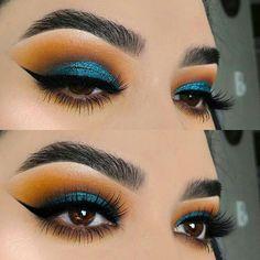 Beautiful blue eyeshadow look for brown eyes! #eyemakeup #browneyes