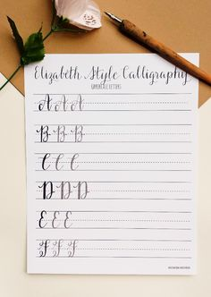 Modern Calligraphy Practice Worksheets | Uppercase Letters | Calligraphy Practice with Sample Letters A through Z | Elizabeth Style by StunningScript on Etsy