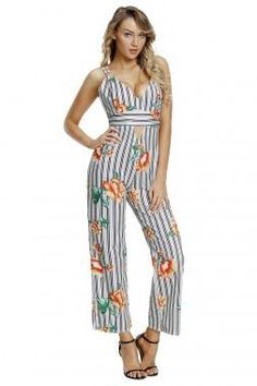 8914ad15a6 Black White Stripes Floral Jumpsuit